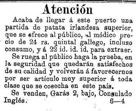 Consulado Inglés vende pataca irlandesa (1886)